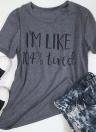 Mulheres Carta Imprimir T-shirt O Neck Top Verão de manga curta