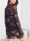 Mulheres Sheer Lace Dress mangas compridas O pescoço Mini vestido Casual Cover Up
