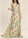 Elegant Women Floral Print Maxi Dress Halter Sleeveless Backless Zip  Long Sundress