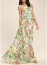 Vestido maxi de la impresión floral elegante de las mujeres Vestido largo sin mangas de la impresión floral sin mangas Halter