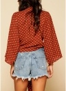 Women Blouse Dots Print Bandage Long Sleeves  Casual Crop Top Shirt