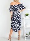 Elegant Women Leaf Print Dress Short Sleeve High Slit Long Sundress
