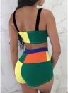 Women Stitching Two Piece Set Sleeveless Crop Top and Short Pants
