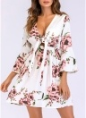 Women Floral Print Dress  Flare Sleeves Bandage Elastic Waist Party A-Line Dresses