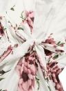Mulheres Floral Imprimir Vestido Mangas De Alargamento Bandage Elastic Cintura Festa A-Line Vestidos