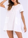 Women Mini Loose Dress Short Sleeves O-Neck Split Pocket Sexy Shirt Dresses