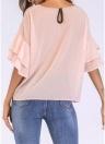 Mulheres Chiffon Blusa Cor Sólida Ruffled Flare Manga Casual Shirt T-Shirt Tops
