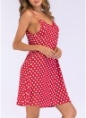 Женское платье Polka Dot Print Tie Spaghetti Straps Backless Mini Vintage One-Piece