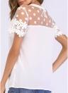 Women Chiffon Blouse Sheer Mesh Floral Crochet Lace Polka Dot  Solid Tops