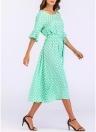 Vestido largo estampado de lunares de las mujeres Vestido largo bordado de la cintura de la playa Bohemia