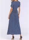 Vestido largo de lunares de las mujeres Vestido largo de la vendimia de una línea