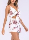 Women Playsuit Floral Print Spaghetti Strap Bow Tie  Strappy Jumpsuit Romper
