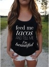 Women Tank Top Letter Print Sleeveless Summer Vest Casual Streetwear Tee Tops