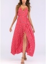 Women Dot Print Maxi Dress High Split Spaghetti Strap Beach Long Dress