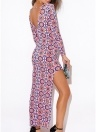 Women Geometric Print Irregular Maxi Dress  Long Sleeve Party Club Long Dress