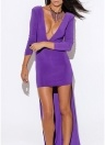 Frauen unregelmäßige lange Kleid High-Low Saum Club Party Solid Maxikleid