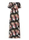 Женщины Maxi Chiffon Dress Floral Print High Split Dressress Beach Long Dress