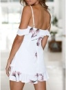 Women Spaghetti Print Dress Cold Shoulder Frills  Zipper Summer Party Mini Dress