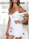 Women Spaghetti Print Dress Cold Shoulder Frills  Zipper Summer Party Mini Dress