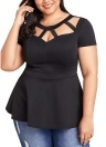 Plus Size Hollow Out Ruffle Hem Short Sleeves O-Neck Blouse