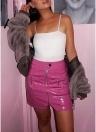 Faux Leather Zipper Pocket High Waist Streetwear Mini Skirt