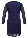 Plus Size Spitze tiefem V-Ausschnitt Langarm-Verband Bodycon Midi-Kleid