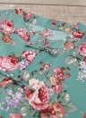 Las mujeres se visten con estampado floral de cuello redondo de manga corta Cheongsle hebilla de algodón Beach Casual Dress