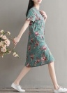Women Dress Floral Print Round Neck Short Sleeve Cheongsle buckle Cotton Beach Casual Dress