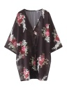 Femmes Floral Print Cardigan ouvert avant Maxi Manteau Summer Boho Long Porter