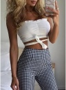 Summer Women Fashion  Vest Tank Top Solid Casual Sleeveless Bandage Crop Tops