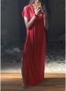 Frauen-beiläufige lange Kleid-feste aufgeteilte kurze Hülsen-Schlitz-Maxi-T-Stück-Kleid