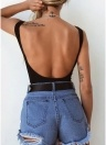 Women Sexy Bodysuit  Tie-Front Backless Sleeveless Ribbed Bodycon Jumpsuit Rompers