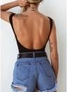 Frauen Sexy Bodysuit Tie-Front Rückenfreies Ärmelloses Geripptes Bodycon Jumpsuit Strampler