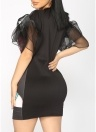 Les femmes volants robe évasée maille demi-manches Imprimer Front Party Shift Robes