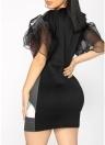Women Ruffles Dress Flared Mesh Half Sleeves Print Front Party Shift Dresses