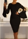 Women Bodycon Midi Dress Lace Up Flare Sleeve Nightclub Party Pencil Dress