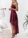 Женщины Бохо кружева длинное платье полые из спины нерегулярное платье Hem