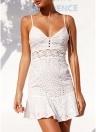 Encaje de ganchillo de las mujeres ahueca hacia fuera el mini vestido de verano del vestido acampanado de la correa de espagueti
