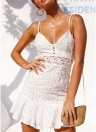 Women Crochet Lace Hollow Out Mini Dress Spaghetti Strap  Summer Flared Dress