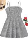 Robe sans manches à carreaux pour femmes ackless Strappy A-Line Mini Sundress