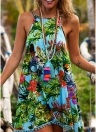 Women Floral Mini Dress Sleeveless Backless Irregular Hem  Strappy Beach Wear Sundress