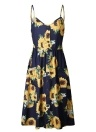 Femme Robe patineuse Floral Spaghetti Straps Manches sans manches A-Line Midi Dress