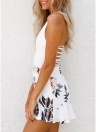 Women Floral Halter Jumpsuit Strappy Hollow Out  Summer Outfit Beach Short Playsuit