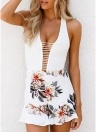 Mujeres Floral Halter Jumpsuit Strappy Hollow Out Summer Outfit Beach Short Playsuit