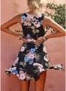 Mulheres Elegante Floral Mini Vestido Ruffles Trim Sem Mangas A-Line Sundress