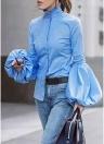 Femmes Chemise Blouse Lanterne Manches Col Haut Bouton Solide Mince Élégant Tops