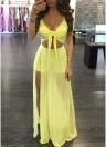 Женщины без рукавов Bodycon платье смотреть через сетку High Slit Club Maxi платье