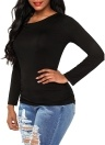 Frauen-Ausschnitt-Schulter-T-Shirt Normallack-langes Hülsen-Bügel-Oberseiten-T-Shirt