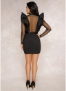 Mesh Ruffles Long Sleeve Button Evening Party Wear Bodycon Pencil Dress