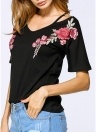 Women T-shirt Contrast Floral Embroidery V Neck Cold Shoulder Short Sleeve Loose Casual Tops White/Black